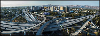 Aerial view of downtown and freeways. San Jose, California, USA (Panoramic color)