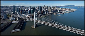 Aerial view of Bay Bridge and downtown skyline. San Francisco, California, USA (Panoramic color)