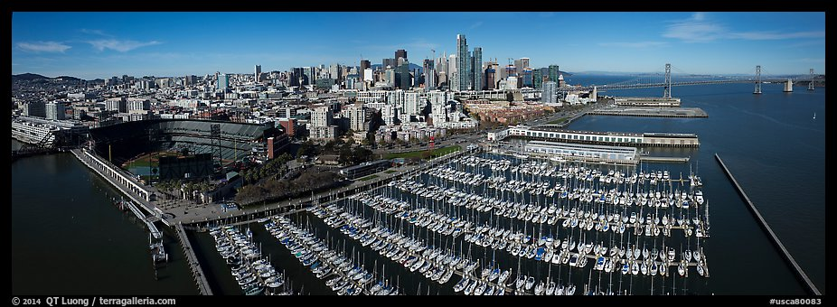 Aerial view of South Beach Harbor, ATT Park, and downtown skyline. San Francisco, California, USA (color)