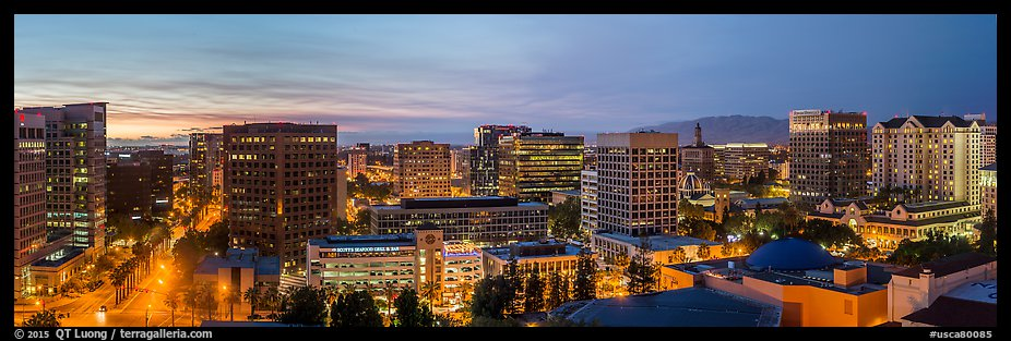 San Jose skyline at dusk from Adobe building to Fairmont hotel. San Jose, California, USA (color)