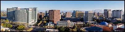San Jose skyline from Adobe building to Fairmont hotel. San Jose, California, USA (Panoramic color)