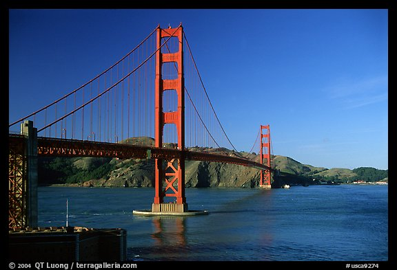 Golden Gate bridge, afternoon. San Francisco, California, USA (color)