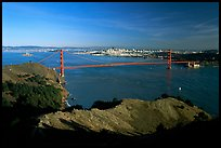 Golden Gate bridge  seen from Hawk Hill, afternoon. San Francisco, California, USA (color)