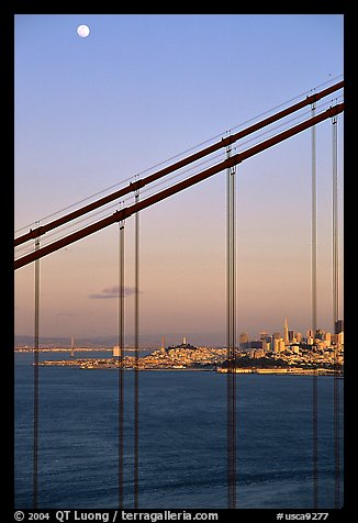 The city seen through the cables of the Golden Gate bridge, sunset. San Francisco, California, USA