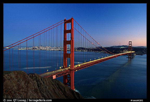 Golden Gate bridge seen from Battery Spencer, dusk. San Francisco, California, USA (color)