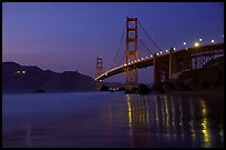 Golden Gate bridge and surf with light reflections, seen from E Baker Beach, dusk. San Francisco, California, USA