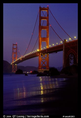 Golden Gate bridge and surf seen from E Baker Beach, dusk. San Francisco, California, USA