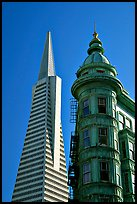 Columbus Tower and Transamerica Pyramid. San Francisco, California, USA ( color)