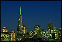 Skyline with Transamerica Pyramid at night. San Francisco, California, USA