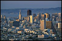 Skyline from Twin Peaks, sunset. San Francisco, California, USA