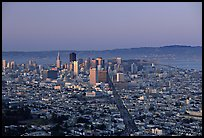 Skyline and Market avenue from Twin Peaks, dusk. San Francisco, California, USA