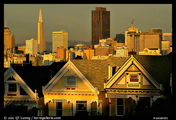 Victorians at Alamo Square and skyline, late afternoon. San Francisco, California, USA (color)