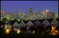 Victorians at Alamo Square and skyline, night. San Francisco, California, USA (color)