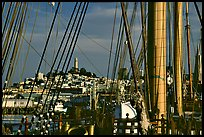 Telegraph Hill and Coit Tower seen through the masts of the Balclutha. San Francisco, California, USA (color)