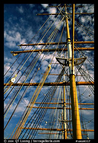 Masts of the Balclutha, Maritime Museum. San Francisco, California, USA (color)