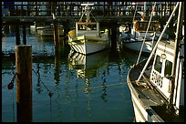 Fishing boats  anchored in  Fisherman's Wharf. San Francisco, California, USA (color)