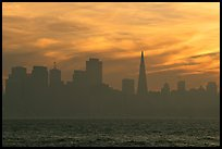 City skyline with sunset clouds seen from Treasure Island. San Francisco, California, USA