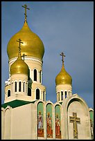 Bulbs of Russian Orthodox Holy Virgin Cathedral. San Francisco, California, USA