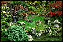 Cascade, rocks, and grass, Japanese Garden, Golden Gate Park. San Francisco, California, USA (color)