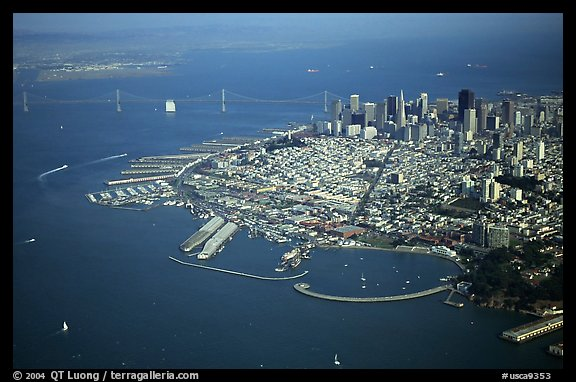 Aerial view of Downtown and Fisherman's wharf. San Francisco, California, USA
