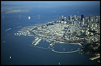 Aerial view of Downtown and Fisherman's wharf. San Francisco, California, USA (color)