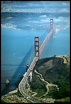 Aerial view of the Golden Gate Bridge. San Francisco, California, USA (color)