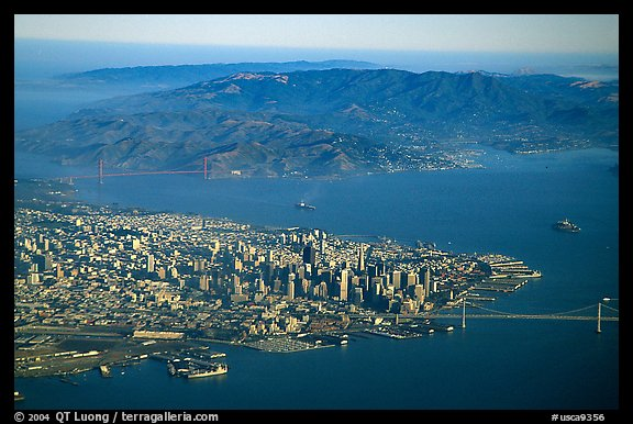 Aerial view of Downtown, the Golden Gate Bridge, and the Marin Headlands. San Francisco, California, USA