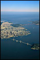 Aerial view of the Bay Bridge, the city, and  the Golden Gate Bridge. San Francisco, California, USA