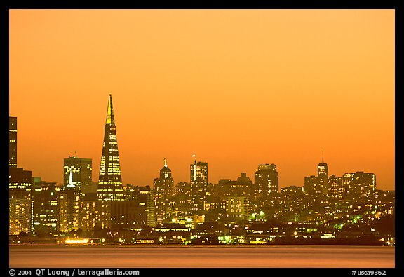 Skyline at sunset with the Transamerica Pyramid. San Francisco, California, USA (color)