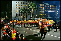 Dragon dancing during the Chinese New Year celebration, Union Square. San Francisco, California, USA