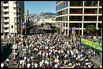 Crowds in the streets during the Bay to Breakers race. San Francisco, California, USA (color)