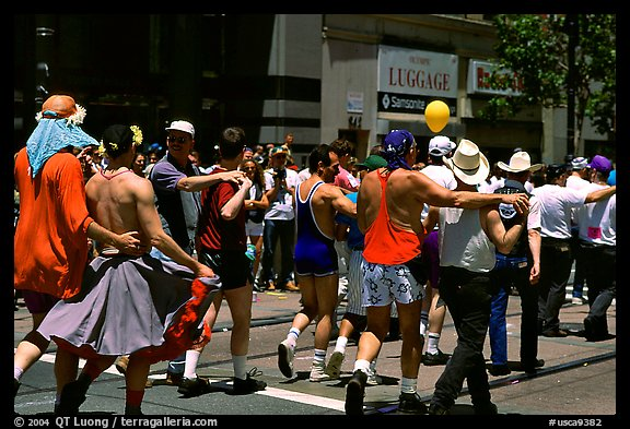 People marching during the Gay Parade. San Francisco, California, USA