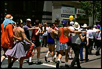 People marching during the Gay Parade. San Francisco, California, USA (color)