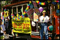 Cable car  during the Gay Parade. San Francisco, California, USA ( color)