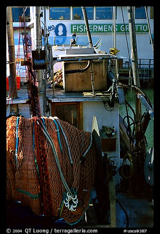 Detail of Fishing boat, Fisherman's Wharf. San Francisco, California, USA