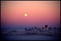 Moonrise over the city. San Francisco, California, USA