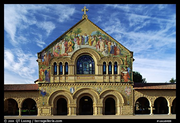 Memorial Chapel, early morning. Stanford University, California, USA (color)