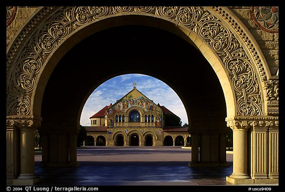 Memorial Chapel through the Quad's arch, early morning. Stanford University, California, USA (color)