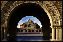 Memorial Chapel through the Quad's arch, early morning. Stanford University, California, USA
