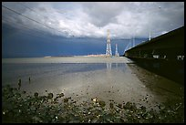 Dumbarton Bridge with storm clouds. Menlo Park,  California, USA (color)