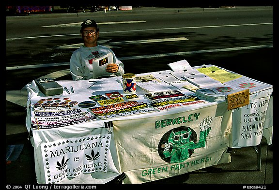 Street Booth advocating Drug legalization. Berkeley, California, USA (color)