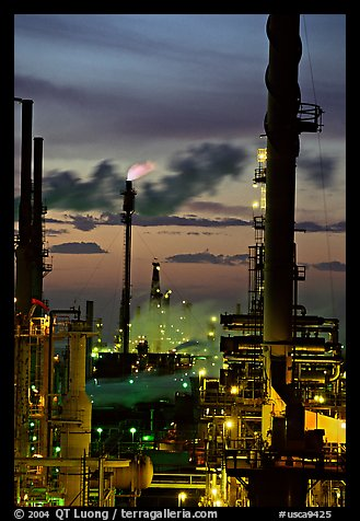 Oil Refinery at sunset, Rodeo. San Pablo Bay, California, USA (color)