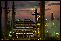 Industrial Oil Refinery near Rodeo at sunset. SF Bay area, California, USA ( color)