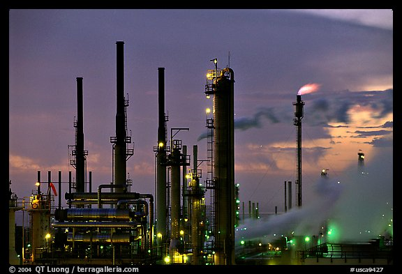 Pipes of San Francisco Refinery, Rodeo. San Pablo Bay, California, USA (color)