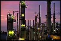Pipes of industrial Oil Refinery near Rodeo at dusk. SF Bay area, California, USA ( color)