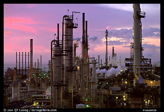 Chimneys of industrial Oil Refinery, Rodeo. San Pablo Bay, California, USA