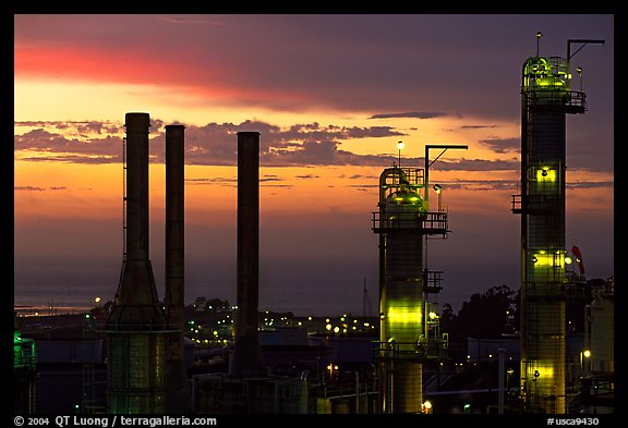 Chimneys of ConocoPhillips Oil Refinery, Rodeo. San Pablo Bay, California, USA