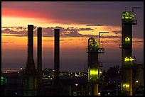 Chimneys of ConocoPhillips Oil Refinery, Rodeo. San Pablo Bay, California, USA (color)