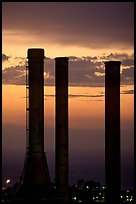 Chimneys of industrial Oil Refinery near Rodeo at sunset. SF Bay area, California, USA ( color)