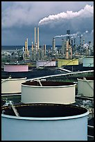 Storage citerns and piples, ConocoPhillips  Refinery,  Rodeo. San Pablo Bay, California, USA (color)